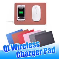samsung kablosuz cep telefonları toptan satış-Qi Kablosuz Şarj Fare Pedleri Hızlı Şarj için Taşınabilir PU Deri Fare Şarj Mat Evrensel iPhone Samsung Qi-etkin Cep Telefonları