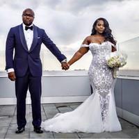 пляжная свадьба оптовых-Скромные сексуальные платья русалки свадебные платья кружева аппликация труба свадебные платья с плеча пляж плюс свадебное платье