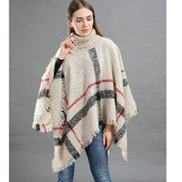 turtleneck poncho pullover großhandel-Frauen Plaid Quaste Poncho Pullover Rollkragen Grid Strickschal Wrap Vintage Schals Mode Mantel Mantel Mädchen Winter Warm hot AAA1170