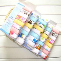 servilletas de impresión al por mayor-Los niños de doble capa de impresión de gasa de algodón pañuelo bufanda bebé pañuelo de alimentación servilleta 8 unidades de tela de hilo toalla