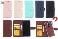 Wholesale leather back books - For Samsung Galaxy A8 Plus 2018 S8 S9 Plus S7 Edge Note8 A5 2 IN1 Book Style skin Leather Wallet Case Soft TPU Back with Card Cover 30pcs