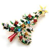 Wholesale Xmas Tree Pin - 1 pcs Cute New Year Christmas Tree Xmas Gift Alloy Brooch Pin Party Decoration Jewelry Brooches Christmas Tree Brooch