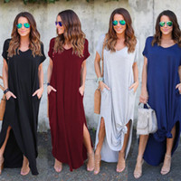 Wholesale pink sundress women - Women Boho Evening Party Summer Sundress Oversized Strappy Maxi Long Dress Plus