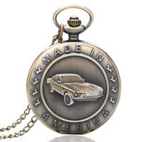 antike autouhr großhandel-Antike Bronze Quarz Taschenuhr Auto Muster Geschenk für Männer Frauen Predant Watch Jewel