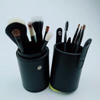 xícara de cosméticos xícara venda por atacado-12pcs Pincéis portátil Maquiagem Escova redonda Pen Titular cosméticos ferramenta PU Leather Cup Container Cores sólidas