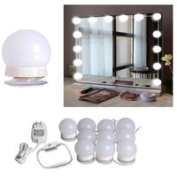 espejo al por mayor-Luz de espejo de maquillaje, kit de bombillas para espejo de vanidad para tocador con regulador de luz y enchufe para fuente de alimentación, espejo no incluido