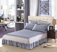 fundas de colchón doble al por mayor-Gris enrejado 100% falda de cama de algodón, colcha, funda de colchón doble tamaño completo reina 1pcs falda de la cama textiles para el hogar 1.2 m 1.5 m 1.8 m