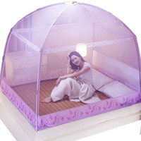 Wholesale purple romantic bedding resale online - Romantic Purple Mosquito Net For Single Double Bed Adults Insect Repeller Tent Bedding Conpy Net For Kids Mesh Yurt Mosquito Net