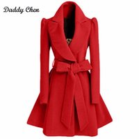 Wholesale Woman Trenchcoat - Especially long trench coat for women Slim female coat Sashes down Red Khaki Windbreaker Outerwear Autumn winter trenchcoat 2017