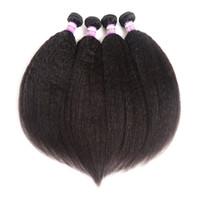 Wholesale brazilian yaki hair extensions online - 8A Kinky Straight Brazilian Virgin Hair bundles Natural Color Human Hair Extensions Coarse Yaki Kinky Straight Hair Weaving