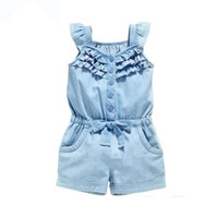 Wholesale jeans jumpsuit baby girl - Baby Jeans Rompers Summer and Kid Girl Clothes Clothes Cotton Rompers Wash Jeans Denim Blue Sleeveless Bow-Knot Gilrs Jumpsuit Dropshipping