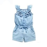 6a2634f3c22 Baby Jeans Strampler Sommer und Kind Mädchen Kleidung Kleidung Baumwolle  Strampler Waschen Jeans Denim Blue Sleeveless Bow-Knoten Gilrs Overall  Dropshipping