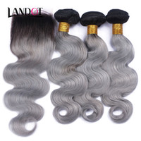 Wholesale 1b grey hair weave for sale - 9A Ombre Brazilian Virgin Human Hair Weaves Bundles With Lace Closures Body Wave Ombre B Grey Peruvian Malaysian Indian Hair Extensions
