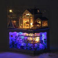 artisanat miniatures maison en bois achat en gros de-Décoration de la maison Artisanat DIY Maison De Poupée En Bois Villa Hawaïenne Bâtiment Modèle 3D Miniature Meubles Salle Assembler Kit Avec LED Lumière 65ty YY