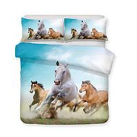 Wholesale horse king size bedding online - Luxury Bedding Set d Art Horse Print All Size Art Print Bed Set