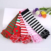 Wholesale knit baby leggings resale online - Baby Infant ruffle Leg stockings warm stripe Knee socks Children Knitted Leggings Socks C1771