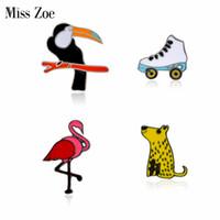Wholesale flamingo jewelry - Miss Zoe Cartoon Flamingo Toucan Dog Skates Animal Brooches Button Pins Denim Jacket Pin Badge Sports Jewelry Gift