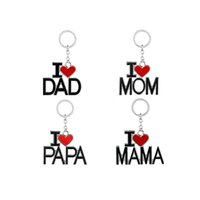 Wholesale key rings - I Love DAD MOM MAMA PAPA Keychain Letters Red Heart Love Key Chains Rings Fashion Jewelry for Mother Father Gifts