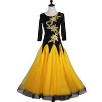 bauchtanz applikationen großhandel-Standard Ballsaal Kleid Ballroom Dance Competition Kleider Flamenco Kleid gelb mit großen schiere Pailletten Applikationen