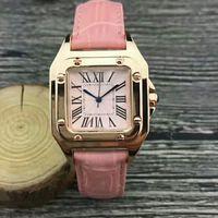 rosa armbänder zum verkauf großhandel-Heißer Verkauf rosafarbenes Vorwahlknopf Art und Weisedame passt Luxuxfrauenuhr Leder-Rosen-Gold-Edelstahl-Armband-Armbanduhren-Markenfrauenuhr auf