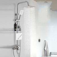 juegos de ducha al por mayor-Juego de grifos de ducha de cobre total Ducha Válvula mezcladora Boquilla elevadora de presión de acero inoxidable Accesorio de rociadores de flores 97 hc gg