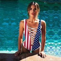 roupa de banho da bandeira dos eua venda por atacado-EUA Bandeira Uma Peça Mulheres Biquíni Sexy Pescoço V Backless Ternos Bandage Swimsuit Senhora Push Up Swimwear 37sy W
