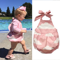 Wholesale Clouds Clothing - Newborn Baby Vest Romper With White Clouds Printed Sleeveless Pink Bandage Elastic Triangle Jumpsuit Summer Girl Clothing 6-24M