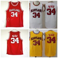 Wholesale college sport teams - College 34 Len Bias Jersey Men Basketball University 1985 Maryland Terps Jerseys Team Red Yellow White Away Sport Breathable