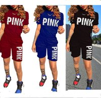 Wholesale lady tight tops - Love Pink Letter Tracksuits Short Sleeve T-shirt Top Tees Shorts Pants Ladies Tight Bodycon Summer Casual Yoga Gym Vs Jogger Suit women