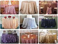 mesas redondas dos corredores venda por atacado-Lantejoulas TableCloth Rodada Glitter Lantejoulas Toalha De Mesa para Banquete De Casamento Festa de Natal Corredor Da Tabela Toalha De Mesa Decoração
