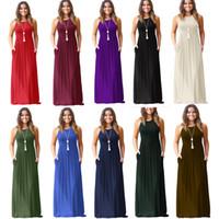 Wholesale plain maxi dresses - Women Maxi Dresses Sleeveless Loose Plain Dresses Casual Long Dresses With Pockets Beach Dress Home Plus Size Clothing S-2XL HH7-1144