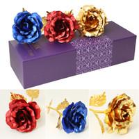 lila blumenliebhaber großhandel-Liebhaber Blumen 24 Karat Golden Rose Hochzeit Dekoration Blume Valentinstag Geschenk künstliche Blume Rot Rosa Lila Blau