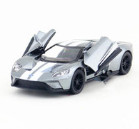 Wholesale Cast Toy Car - 1:36 scale alloy pull back Ford GT sports car model die-casting metal model toys 2-door toy vehicles collection model children gifts