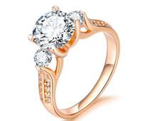vergoldeter diamantring verkauf großhandel-Heißer Verkauf Kupfer und reales Goldüberzug-Zircon-Diamant-Ring-Schmucksachen, freier Verschiffen-Dame Fashion Ring mit 6,7,8,9 Größen
