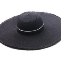 ad7bc551f6201 Explosão modelos verão senhoras moda selvagem preto M palavra grande chapéu  de palha praia máscara chapéu de proteção solar