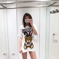 Wholesale pure bear - 2018 Fashion Brand Women's Star Style Long-eared bear Printed Pure Cotton Long Style Women's Loose T-shirt