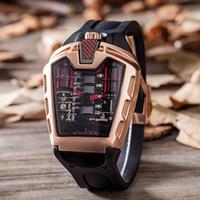 Wholesale Head Tags - Original Luxury Brand Watches Sports Mens Watches Fashion Hollow Ghost Head Silicone Strap Wristwatches Quartz Men Watch Whalesale