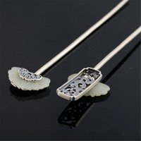 sterling silber haare großhandel-Er Tian White Jade Haarspangen 925 Sterling Silber Haarspangen Vintage Elegant Damen Accessoires Edler Qualitätsschmuck