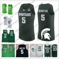 Michigan State Spartans  5 Cassius Winston 20 Matt McQuaid 25 Kenny Goins  23 Xavier Tillman College Basketball White Green Retro Jerseys 6210cde40