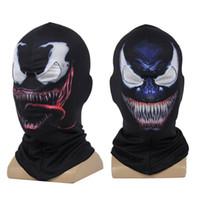 ingrosso volto nero spiderman-Venom Spiderman stampato maschera 3D Cosplay Nero SpiderMan Edward Brock Dark Supereroe Venom Maschere Casco Halloween Party Puntelli FFA1170