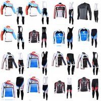 Wholesale Cube Long Jersey - CUBE team Cycling long Sleeves jersey (bib) pants sets pro team men's bicycle clothing Quick Dry Comfortable D1605