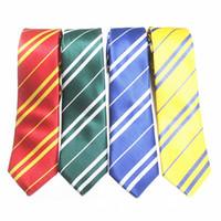 ingrosso bowtie in poliestere bianco-100 pz HOT Harry Potter Cravatta 4 colori Gryffindo Corvonero Tassorosso Serpeverde College cravatta cravatta