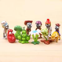 definir figuras de ação pvc venda por atacado-Plantas vs Zombies 10 pçs / set 6 cm Estatueta Em Miniatura Decoração Jardim De Fadas PVC Anime Figura de Ação Para Casa Crianças Enfeites de Presente brinquedos
