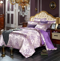 beds doubles Canada - European Luxury Satin Jacquard bedding sets Embroidery bed set double queen king size duvet cover bed sheet set pillowcase