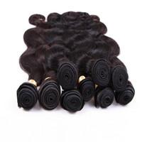 paquetes de paquetes de la virgen brasileña al por mayor-8A Peruvian Body Wave Virgin Hair 4 Bundles El cabello humano malasio brasileño de la India teje el paquete 100g color natural teñible del pelo