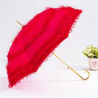 свадебные ремесла оптовых-Горячая продажа Принцесса кружева зонтик высококачественный золотой фольги Красный Bridesmaids зонтик праздничный свадьба свадьба свадьба ремесло