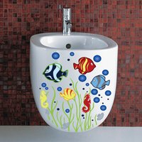 рыбные наклейки для детей ванная комната оптовых-cute funny colorful Fish Bubble animals bathroom wash room toilet home decor wall stickers for kids room DIY shop office decal
