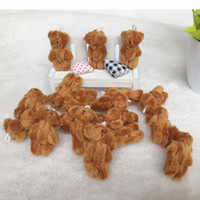 stuffed brown bear wholesale NZ - 100PCS LOTed Joint T Bear Plush Toy Animal Stuffed Brown Doll Teddy Bears with Bow Plush Pendant Kids Toys Wedding Gifts HMR003