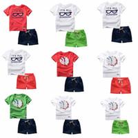 Wholesale Boys T Briefs - 44 Styles boys Sets 100%Cotton short Sleeve cartoon bike eyeglass letter print T shirt boys causal summer t shirt + short kids Clothing Sets