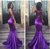 Wholesale art nude girl back for sale - Group buy 2019 Black Girls Sexy Lace Purple Halter Open Back Mermaid Prom Dresses Cheap Sleeveless Sexy Appliques Evening Arabic Party Gowns
